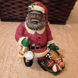 Black African American Santa Figurine